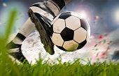 3d rendering soccer player kicking soccer ball in motion