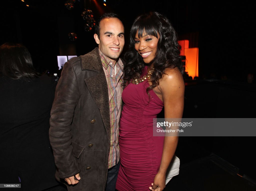 Soccer player Landon Donovan and tennis player Serena Williams attend the PepsiCo Super Bowl Weekend Kickoff Party featuring Lenny Kravitz and DJ Pauly D at Wyly Theater on February 4, 2011 in Dallas, Texas.