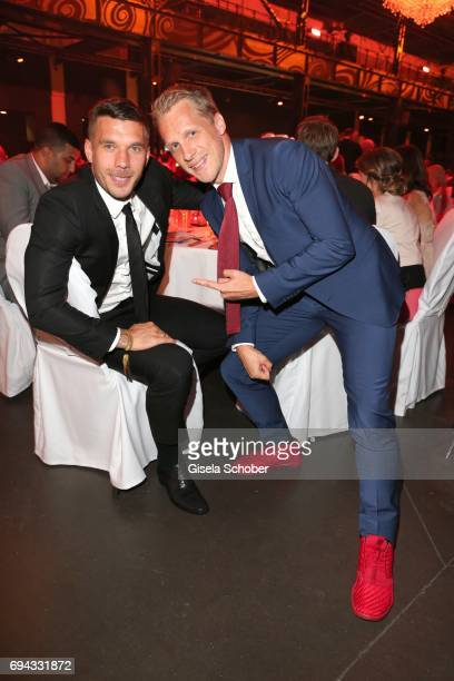 Soccer player Lukas Podolski and Oliver Pocher during the Toni Kroos charity gala benefit to the Toni Kroos Foundation at 'The Palladium' on June 9...