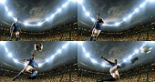 A male soccer player kicks the ball with his feet. We can see all four stages of the kick. The stadium is full of spectators holding flags behind him. The stadium is made in 3D. The lights of the stad