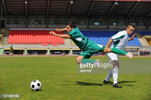Soccer player making foul