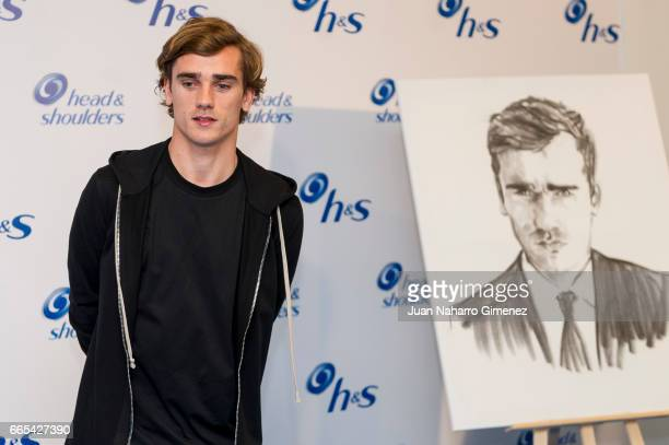 Soccer player of Atletico de Madrid Antoine Griezman attends to the 'New hs Ambassador' presentation at NH Collection Eurobuilding Hotel on April 6...