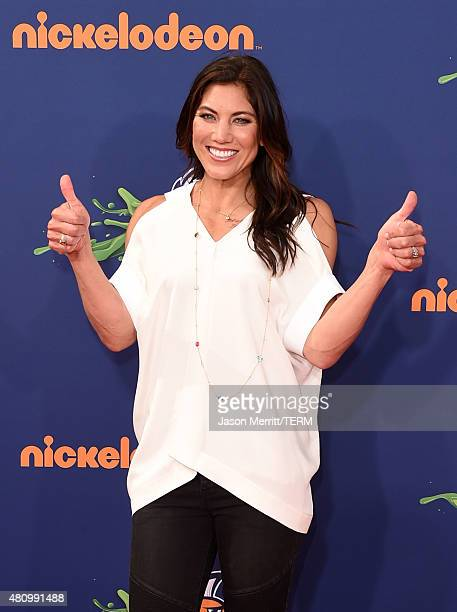 USWNT soccer player Olympian Hope Solo attends the Nickelodeon Kids' Choice Sports Awards 2015 at UCLA's Pauley Pavilion on July 16 2015 in Westwood...