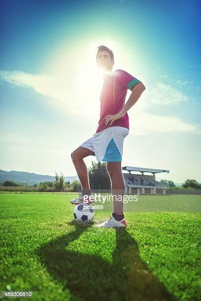 Fußball-Spieler auf dem Fußballfeld