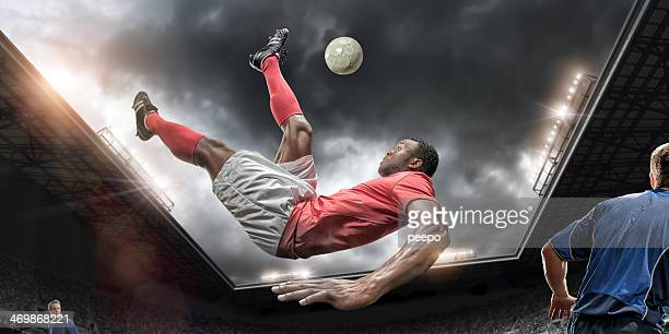 Soccer Player Performing Overhead Kick