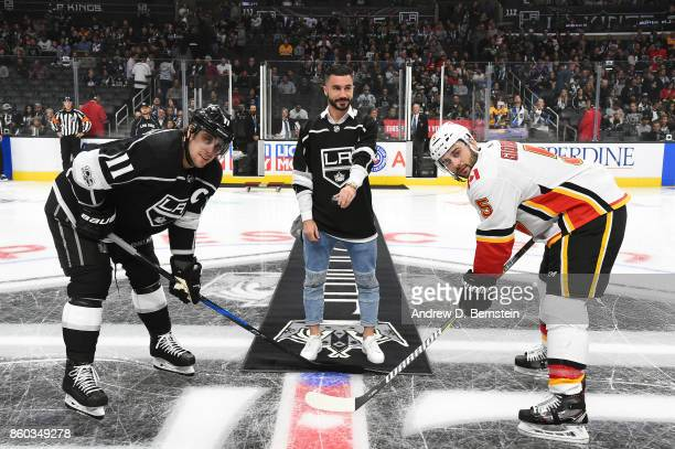 Soccer player Romain Alessandrini of the LA Galaxy Anze Kopitar of the Los Angeles Kings and Mark Giordano of the Calgary Flames pose for the...