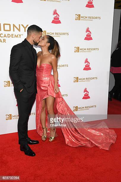 Soccer player Sebastian Lletget and singer Becky G attend the 2016 Person of the Year honoring Marc Anthony at MGM Grand Garden Arena on November 16...