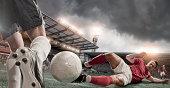 soccer player sliding tackle