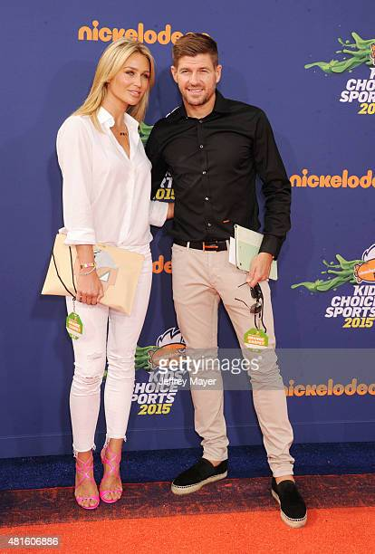 Soccer player Steven Gerrard and wife Alex Gerrard arrive at the Nickelodeon Kids' Choice Sports Awards 2015 at UCLA's Pauley Pavilion on July 16...