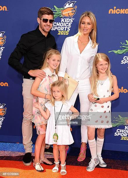Soccer player Steven Gerrard wife Alex Gerrard and daughters LillyElla Gerrard Lexie Gerrard and Lourdes Gerrard attend the Nickelodeon Kids' Choice...