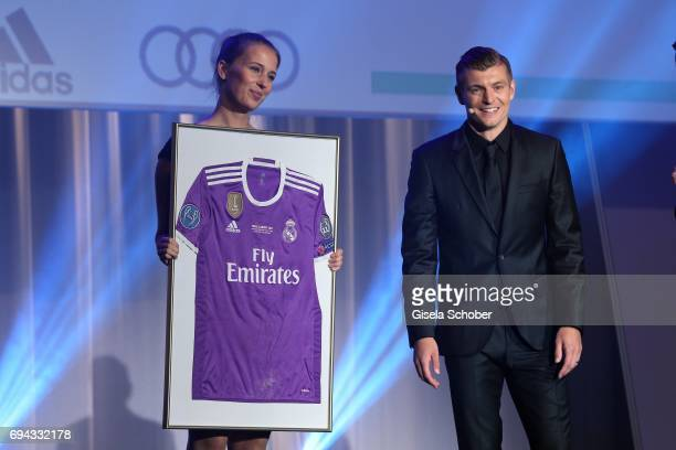 Soccer player Toni Kroos and Kai Pflaume during the Toni Kroos charity gala benefit to the Toni Kroos Foundation at 'The Palladium' on June 9 2017 in...