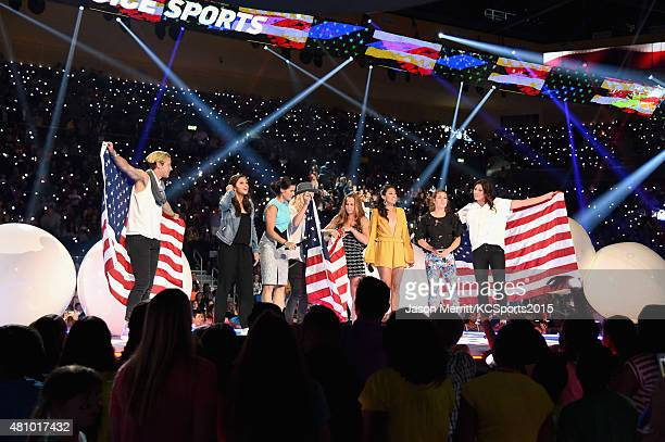 USWNT soccer players Abby Wambach Carli Lloyd Ali Krieger Ashlyn Harris Christie Rampone Christen Press Kelley O'Hara and Hope Solo speak onstage at...