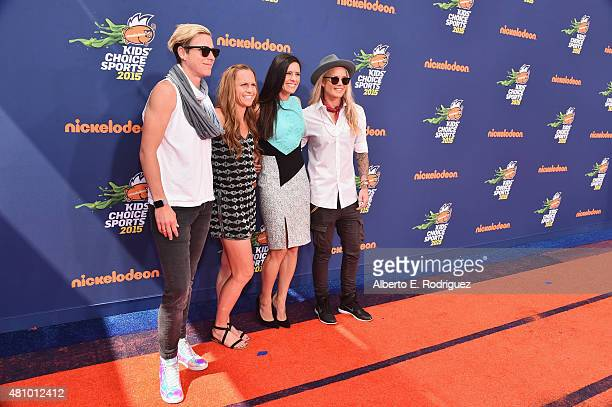 USWNT soccer players Abby Wambach Christie Rampone Ali Krieger and Ashlyn Harris attend the Nickelodeon Kids' Choice Sports Awards 2015 at UCLA's...