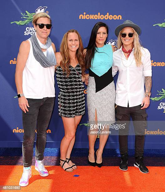 USWNT soccer players Abby Wambach Christie Rampone Ali Krieger and Ashlyn Harris attend the Nickelodeon Kids' Choice Sports Awards at UCLA's Pauley...