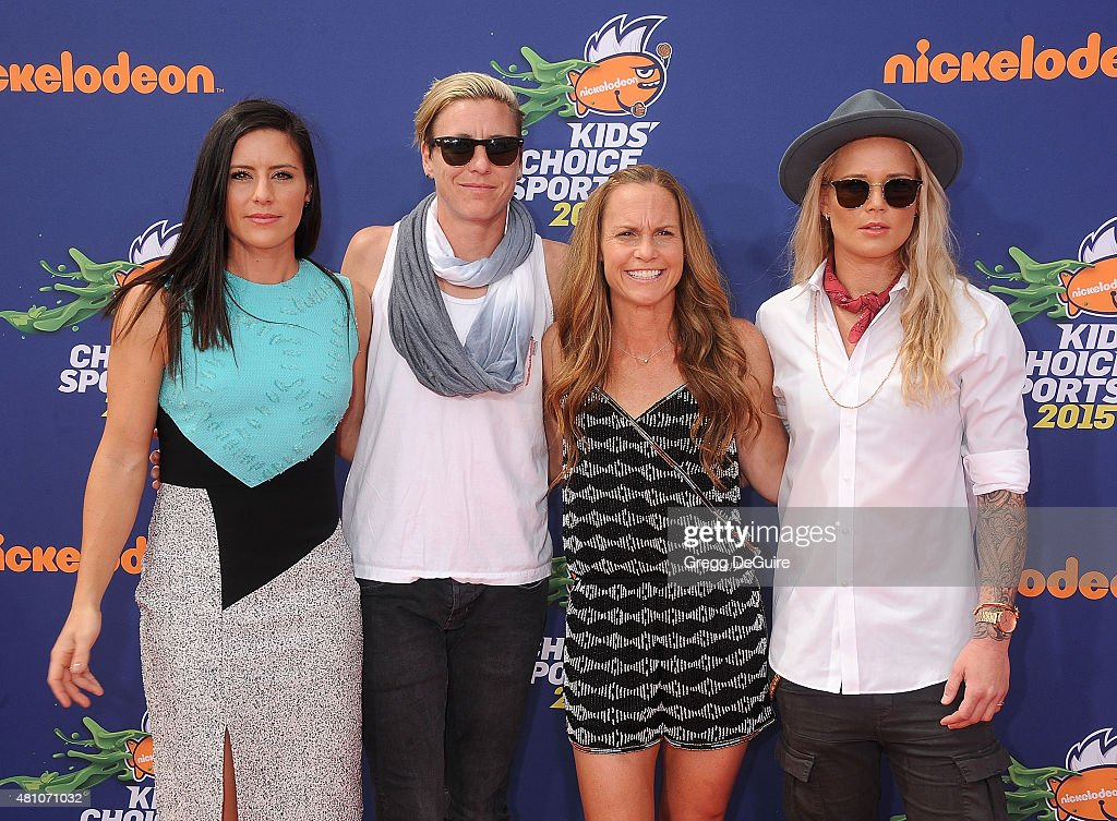 USA soccer players <a gi-track='captionPersonalityLinkClicked' href=/galleries/search?phrase=Ali+Krieger&family=editorial&specificpeople=7227841 ng-click='$event.stopPropagation()'>Ali Krieger</a>, <a gi-track='captionPersonalityLinkClicked' href=/galleries/search?phrase=Abby+Wambach&family=editorial&specificpeople=162757 ng-click='$event.stopPropagation()'>Abby Wambach</a>, <a gi-track='captionPersonalityLinkClicked' href=/galleries/search?phrase=Christie+Rampone&family=editorial&specificpeople=737139 ng-click='$event.stopPropagation()'>Christie Rampone</a> and <a gi-track='captionPersonalityLinkClicked' href=/galleries/search?phrase=Ashlyn+Harris&family=editorial&specificpeople=4640329 ng-click='$event.stopPropagation()'>Ashlyn Harris</a> arrive at the Nickelodeon Kids' Choice Sports Awards 2015 at UCLA's Pauley Pavilion on July 16, 2015 in Westwood, California.