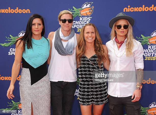 USA soccer players Ali Krieger Abby Wambach Christie Rampone and Ashlyn Harris arrive at the Nickelodeon Kids' Choice Sports Awards 2015 at UCLA's...