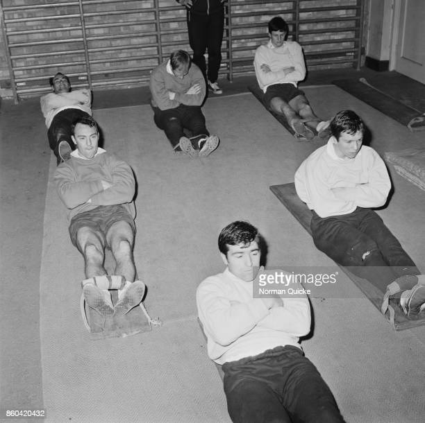 Soccer players Dennis Bond Terry Venables and Jimmy Greaves of Tottenham Hotspur FC during a training session UK 5th April 1967