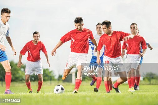 Soccer players in action.