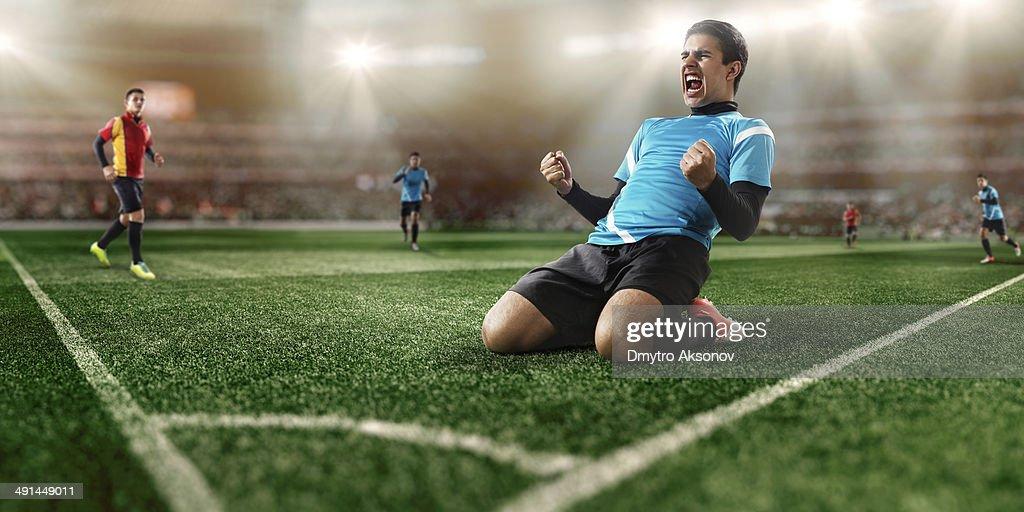 Soccer players in stadium : Stock Photo