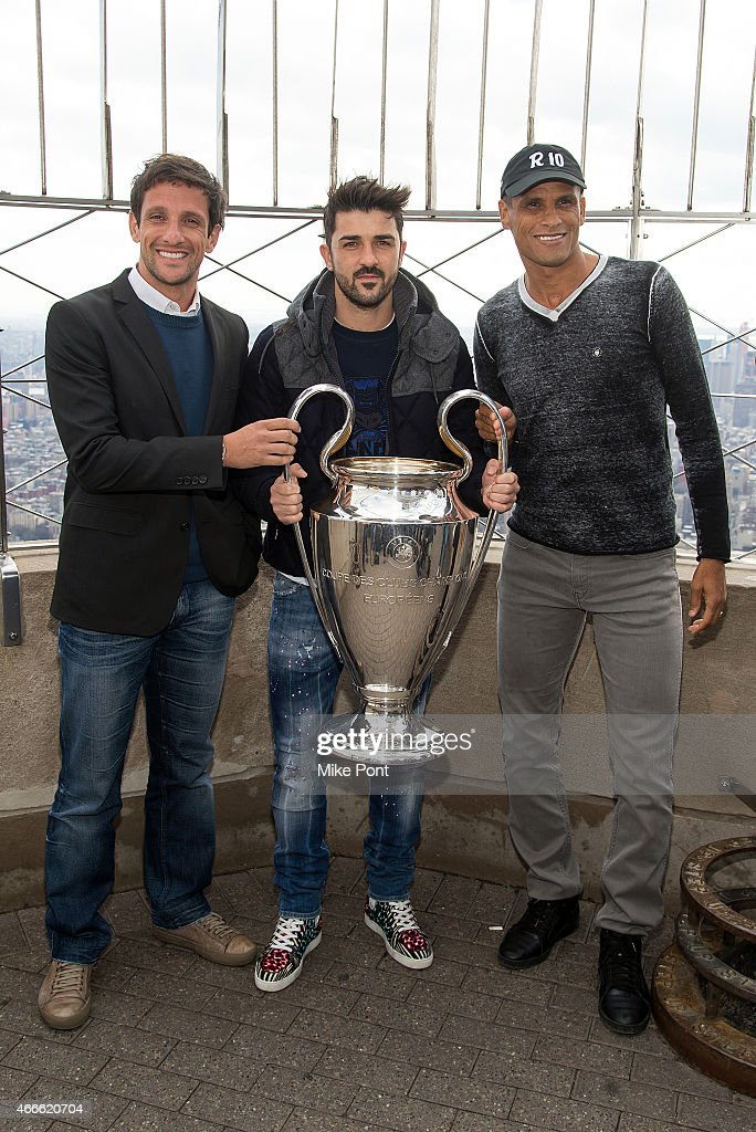 Soccer players <a gi-track='captionPersonalityLinkClicked' href=/galleries/search?phrase=Juliano+Belletti&family=editorial&specificpeople=630631 ng-click='$event.stopPropagation()'>Juliano Belletti</a>, <a gi-track='captionPersonalityLinkClicked' href=/galleries/search?phrase=David+Villa&family=editorial&specificpeople=467566 ng-click='$event.stopPropagation()'>David Villa</a>, and <a gi-track='captionPersonalityLinkClicked' href=/galleries/search?phrase=Rivaldo&family=editorial&specificpeople=208828 ng-click='$event.stopPropagation()'>Rivaldo</a> visit The Empire State Building on March 17, 2015 in New York City.