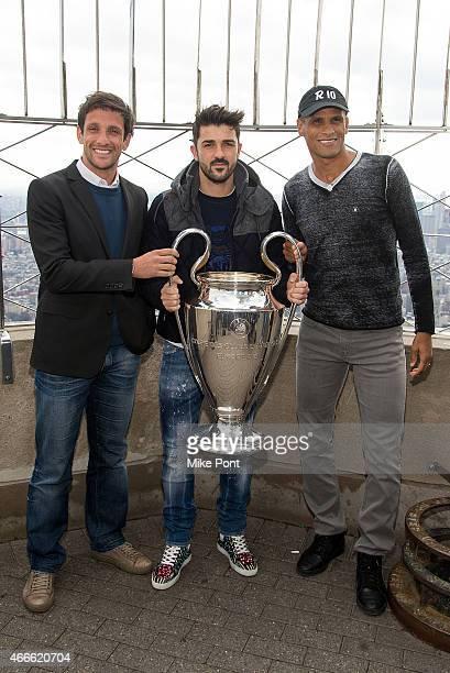 Soccer players Juliano Belletti David Villa and Rivaldo visit The Empire State Building on March 17 2015 in New York City