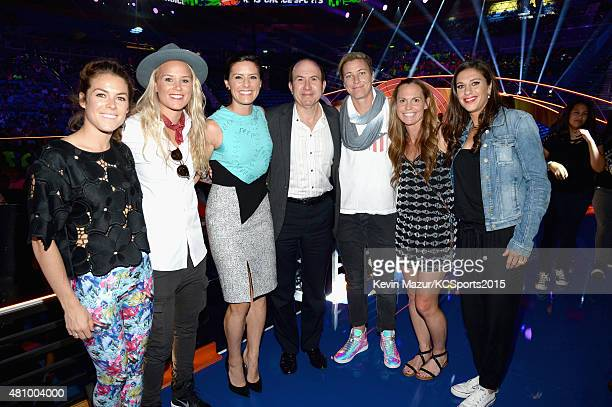 USWNT soccer players Kelley O'Hara Ashlyn Harris Ali Krieger President and CEO of Viacom Philippe Dauman USWNT soccer players Abby Wambach Christie...