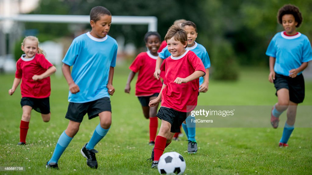 Soccer Players Kicking the Ball : Stock Photo
