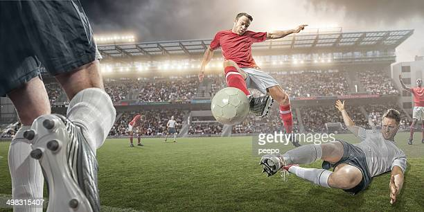 Soccer Players Mid Air Action