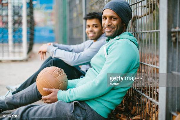 Soccer players relaxing