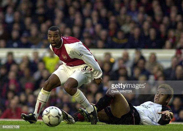 FA Soccer Premiership Season 20032004 Arsenal vs Fulham Ashley Cole and Junichi Inamoto Championnat d'Angleterre de Football Premiere Ligue Saison...