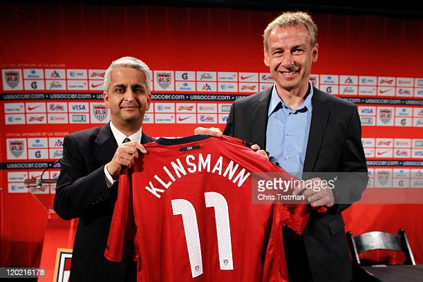 S Soccer President Sunil Gulati officially announces Jurgen Klinsmann as the new head coach of the US Men's National Team during a press conference...