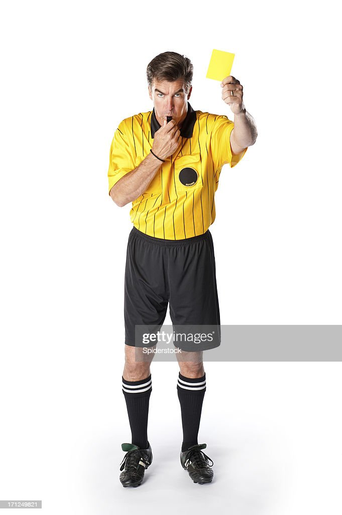 Soccer Referee Giving Yellow Card