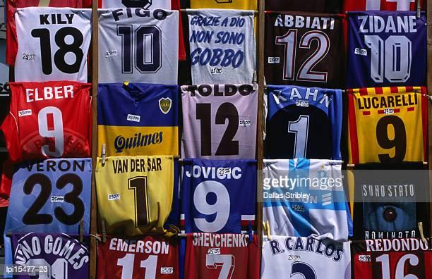 Soccer shirts for sale in Piazza della Repubblica.