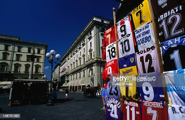 Soccer shirts for sale on the Piazza della Repubblica in Florence.
