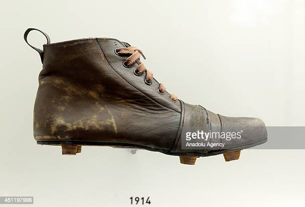 A soccer shoe of 1914 is displayed at the football museum in Sao Paulo which tells the history of Brazilian football become an attraction point for...