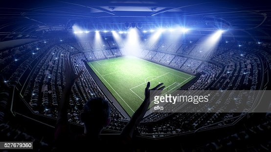 Soccer stadium with fans : Stock Photo