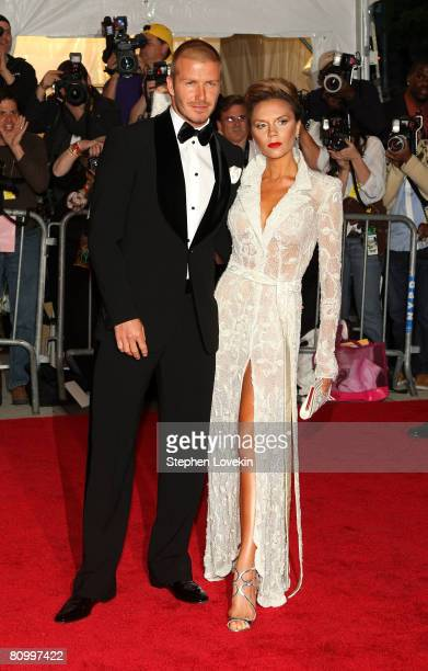 Soccer star David Beckham and Victoria Beckham arrive at the Metropolitan Museum of Art Costume Institute Gala Superheroes Fashion and Fantasy held...