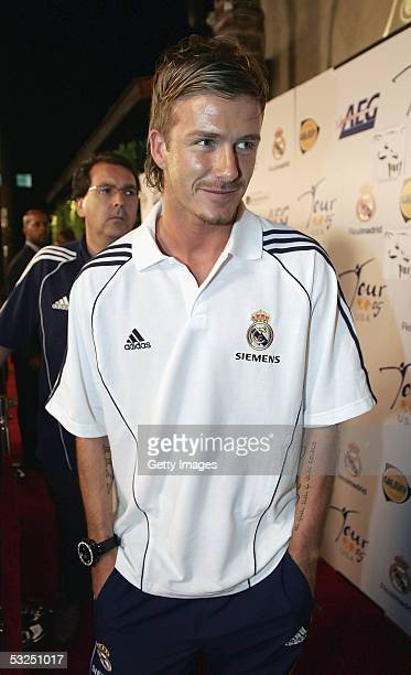 Soccer star David Beckham of Real Madrid attends a Real Madrid reception presented by AEG on the eve of their match against the Los Angeles Galaxy on...