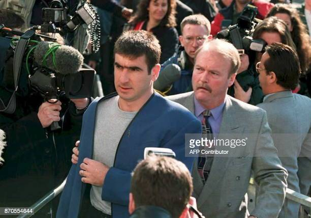 Soccer star for Manchester United French Eric Cantona arrives at East Croydon magistrates court in South London 23 March where he pleaded guilty for...