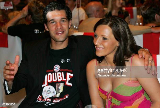 Soccer star Michael Ballack of Munich and his wife Simone Ballack attend the Bayern Munich champions party after the German Football Federations Cup...