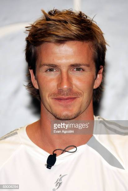 Soccer superstar David Beckham unveils his new Predator adidas boot and product line at the adidas Sport Performance Store June 1 2005 in New York...