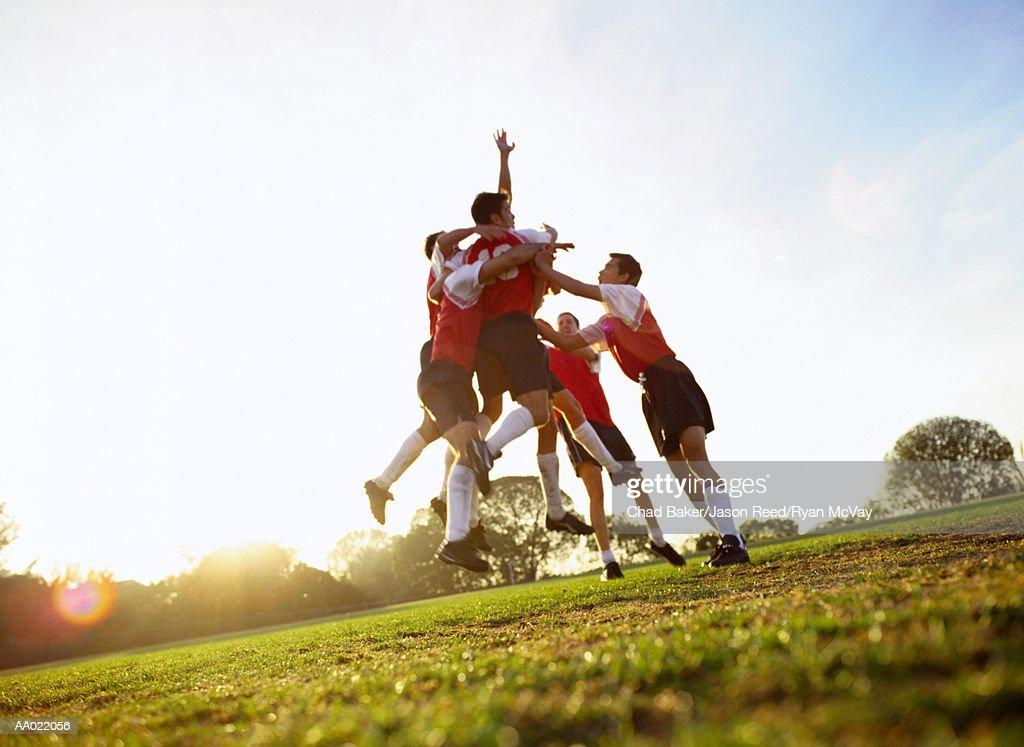 Soccer Team Celebrating : Stock Photo