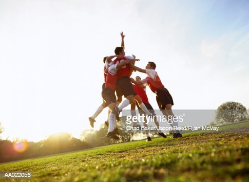 Soccer Team Celebrating