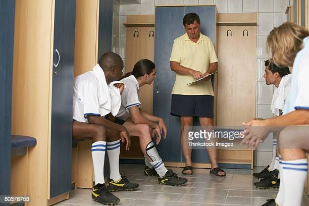 Soccer team in locker room