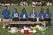 Soccer Team on Bench Sidelines