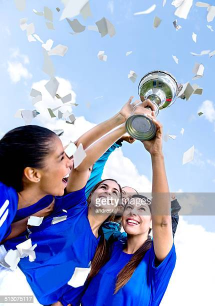 Soccer team winning the cup