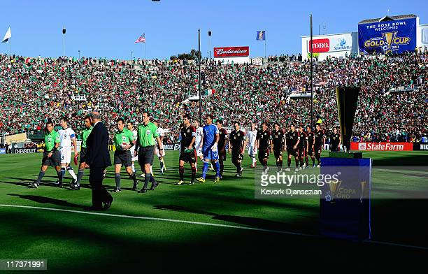 Soccer teams Mexico and the United States enter the pitch for the 2011 CONCACAF Gold Cup Championship at the Rose Bowl on June 25 2011 in Pasadena...
