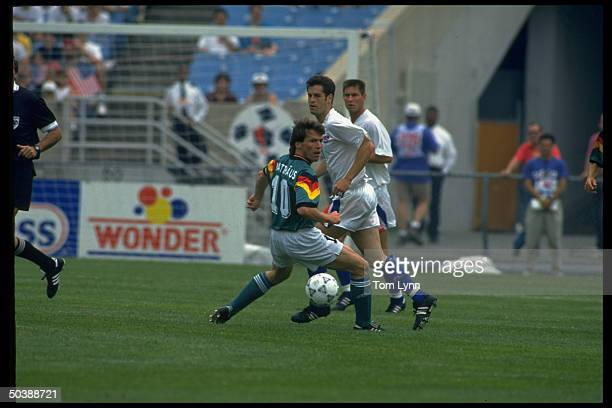 US John Harkes in action vs GER Lothar Matthaus