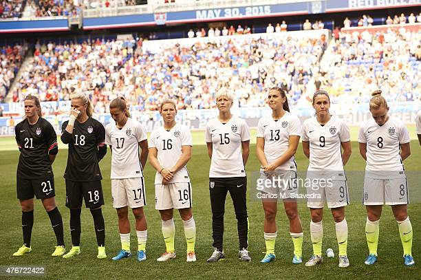 USA Alyssa Naeher Ashlyn Harris Tobin Heath Lori Chalupny Megan Rapinoe Alex Morgan Heather OReilly and Amy Rodriguez lined up on field before...