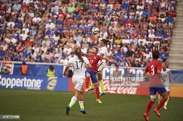 USA Carli Lloyd in action head ball vs South Korea Kang Yumi during International Friendly at Red Bull Arena Harrison NJ 5/30/2015 CREDIT Carlos M...
